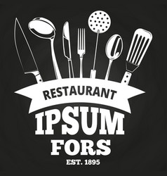 vintage restaurant label or badge on blackboard vector image vector image