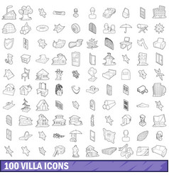 100 villa icons set outline style vector image