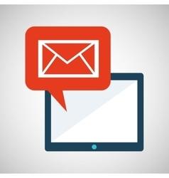 Blue cartoon tablet message email bubble speech vector