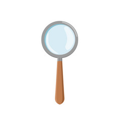cartoon magnifying glass with gray frame and brown vector image