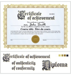 Gold certificate Template Horizontal vector image vector image