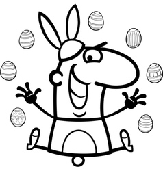 man as easter bunny cartoon for coloring vector image vector image