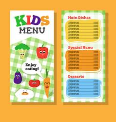 2 pages kids menu design with vegetable vector image