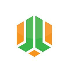 abstract hexagon company concept logo vector image vector image