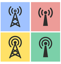 communication tower icon set vector image vector image