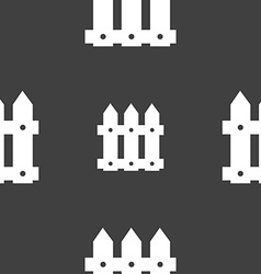 Fence icon sign Seamless pattern on a gray vector image