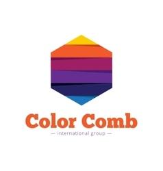 paper style multicolor hexagon logo Flat vector image