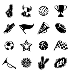 Sports icons and fans equipment vector image vector image