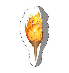 sticker olympic torch with yellow flame vector image