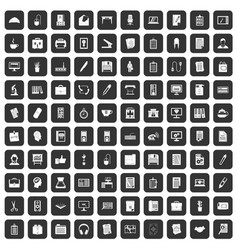 100 office icons set black vector