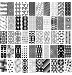 50 black and white geometric seamless pattern set vector