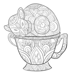 Adult coloring bookpage a cute rat in a cup image vector