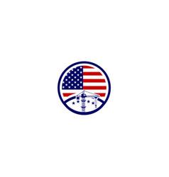 American contractor logo template icon element vector