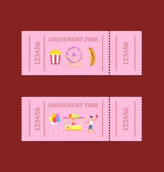 amusement park ticket set vector image