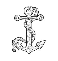 anchor and rope sketch vector image