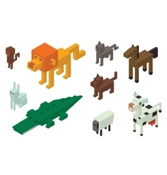 Animal 3d isometric icons collection vector