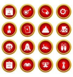 april fools day icon red circle set vector image