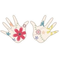 Baby hand painted silhouettes vector
