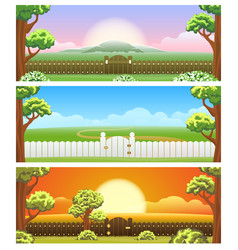 backyard cartoon background set vector image