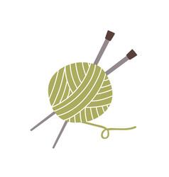 Ball yarn thread and knitting needles isolated vector