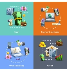Banking and payment icons set vector image vector image