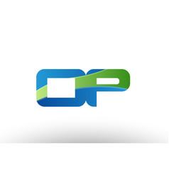Blue green op o p alphabet letter logo vector