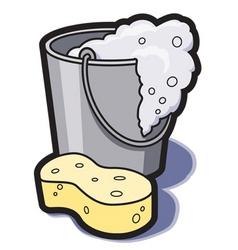Bucket of water and sponge vector