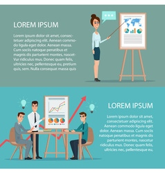 Businessman and woman making a presentation in vector