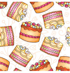 cakes seamless pattern pastry and vector image vector image