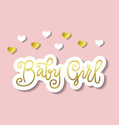 calligraphy lettering of baby girl in golden vector image