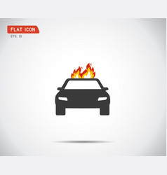 Car fired vehicle insurance icon flat pictograph vector