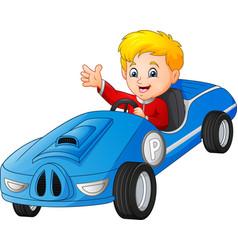 cartoon boy riding a car vector image