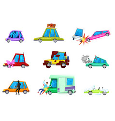 Cartoon car comic minicar and broken vector