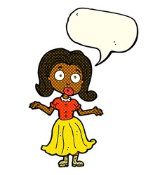 Cartoon confused girl with speech bubble vector
