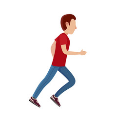 Cartoon male character in motion vector