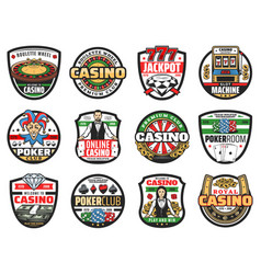 casino roulette poker croupier dice card icons vector image
