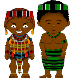 Cheerful african couple from ethiopia hamer tribe vector