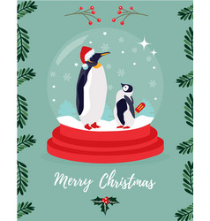 Christmas greeting card with two emperor penguins vector