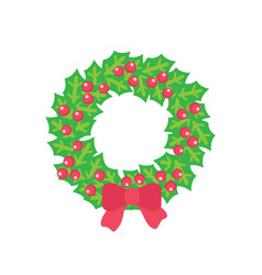 christmas wreath with holly red berries and bow vector image