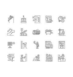 civil engeneering line icons signs set vector image