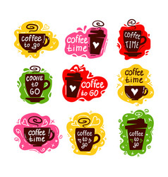 coffee cup logos set vector image