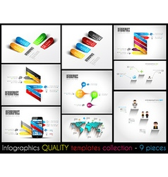 Collection of 9 quality Infographic Templates vector image