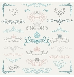 Colorful Vintage Hand Drawn Swirls and vector