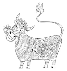 Coloring page with Cow zenart stylized hand vector image
