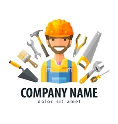 construction worker logo design template vector image