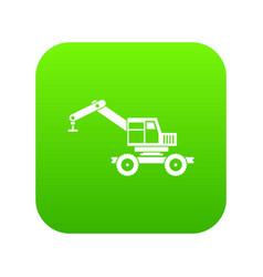 Crane truck icon digital green vector