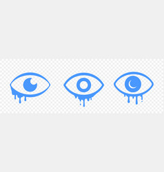 Crying tears eye cartoon sad emotion icons vector
