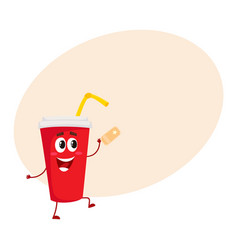 Cute and funny soda drink character with smiling vector