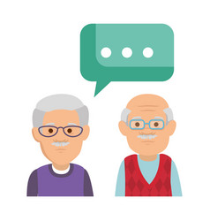 cute grandfathers with speech bubble vector image
