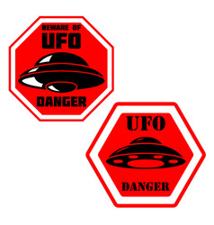 Danger ufo zone sign with ufo vector